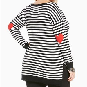 Torrid Striped Heart Patch Elbow Sweater